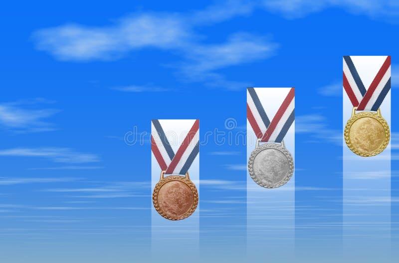 Medalhas de ouro de prata de bronze ilustração stock
