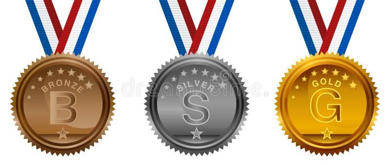 Medalhas de ouro olímpicas da prata do bronze dos EUA ajustadas ilustração royalty free