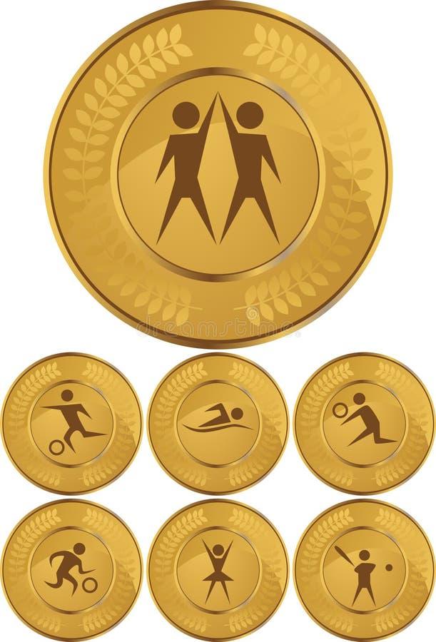 Medalhas de ouro olímpico ilustração do vetor