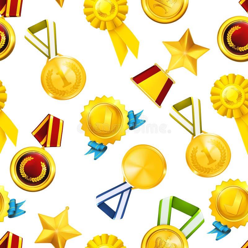 Medalhas de ouro, teste padrão sem emenda ilustração do vetor