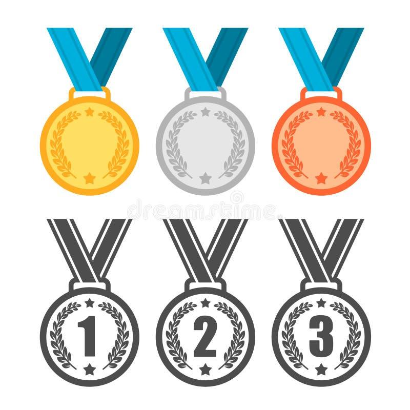 Medalhas definidas Prêmios de vencedores do esporte fotos de stock
