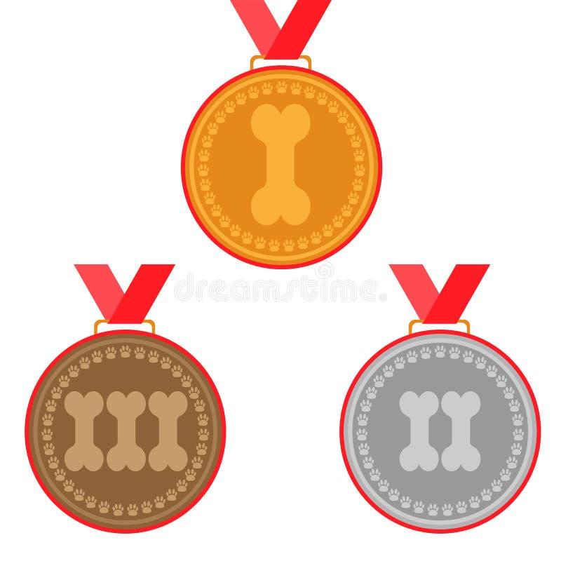 Medalhas do cão ajustadas prêmios para primeiros três lugares - ouro, prata e bronze ilustração stock