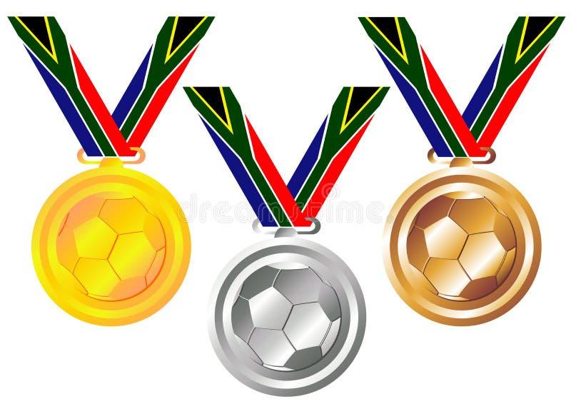 Medalhas do futebol ilustração do vetor