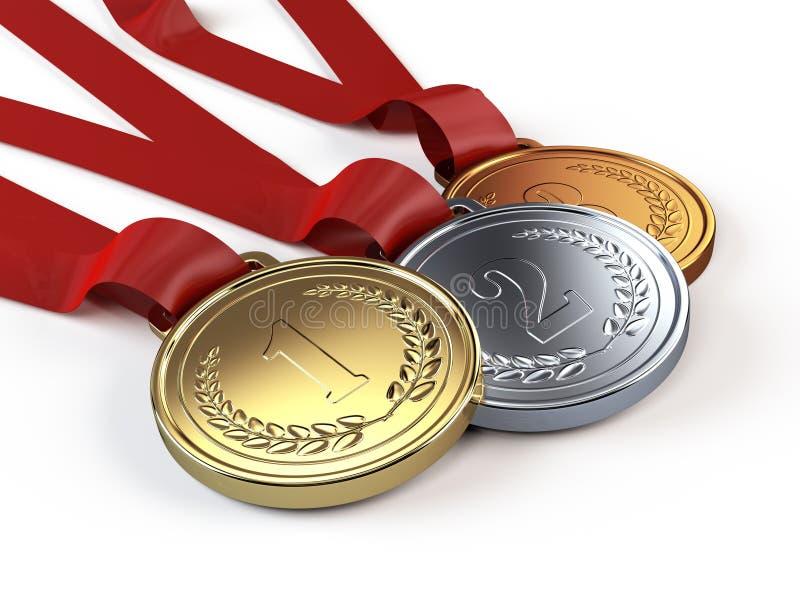 Medalhas do ouro, as de prata e as de bronze ilustração do vetor