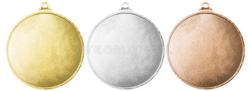 Medalhas do ouro, as de prata e as de bronze com trajeto de grampeamento ilustração royalty free