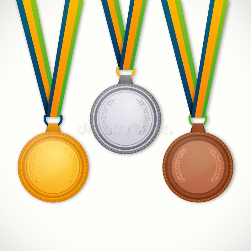 Medalhas do ouro, as de prata e as de bronze para Jogos Olímpicos ilustração royalty free