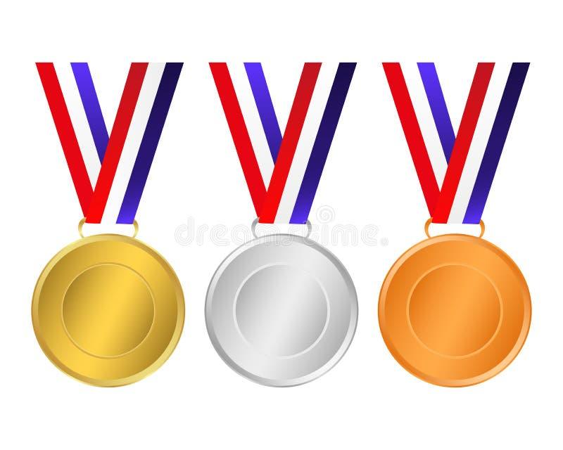 Medalhas do ouro, as de prata e as de bronze para os vencedores dos campeões ilustração stock