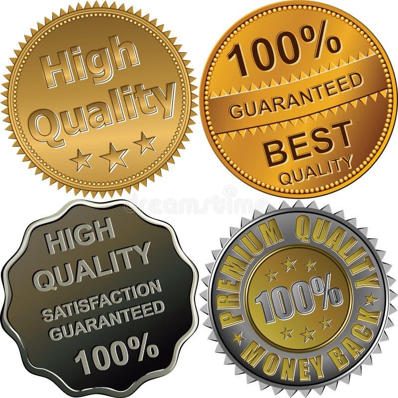Medalhas do ouro, as de prata e as de bronze para a qualidade ilustração royalty free