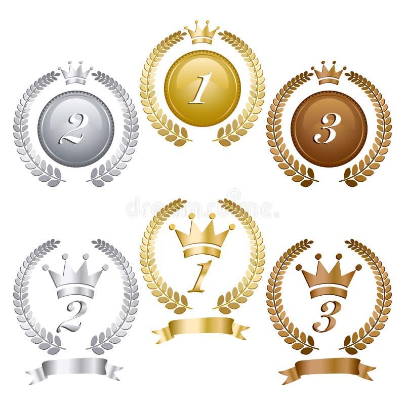 Medalhas do prata do ouro e as de bronze ajustadas ilustração stock