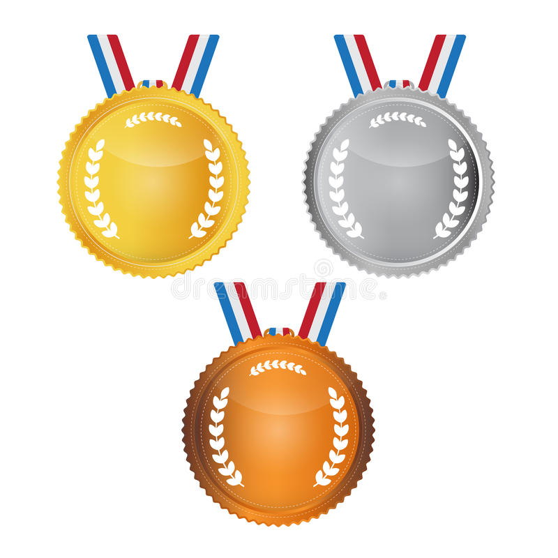 Medalhas do vetor ajustadas ilustração royalty free