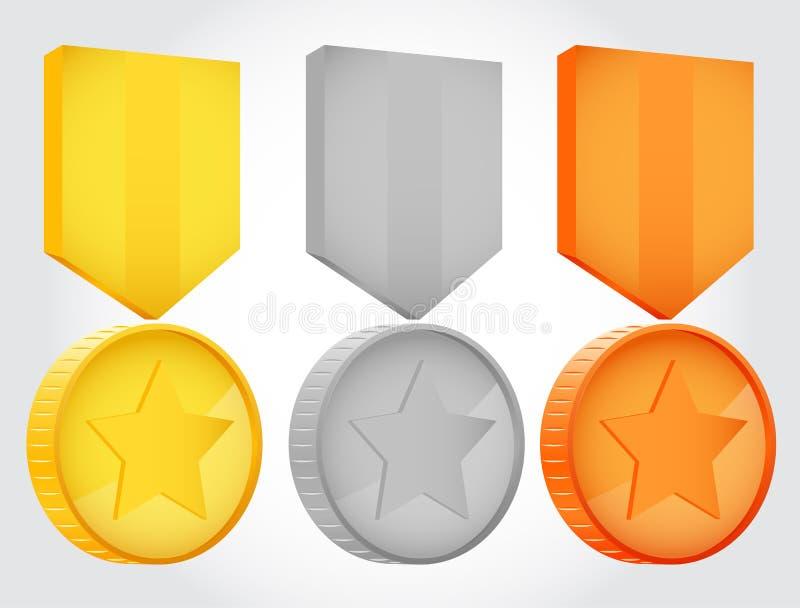 Medalhas do vetor da prata e do bronze do ouro ilustração stock