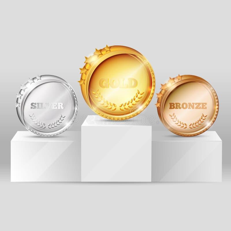 Medalhas dos esportes no projeto do suporte ilustração stock