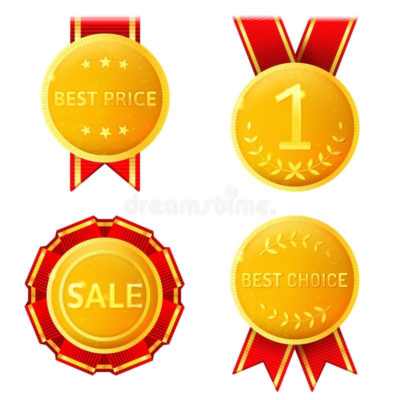 Medalhas douradas ilustração stock