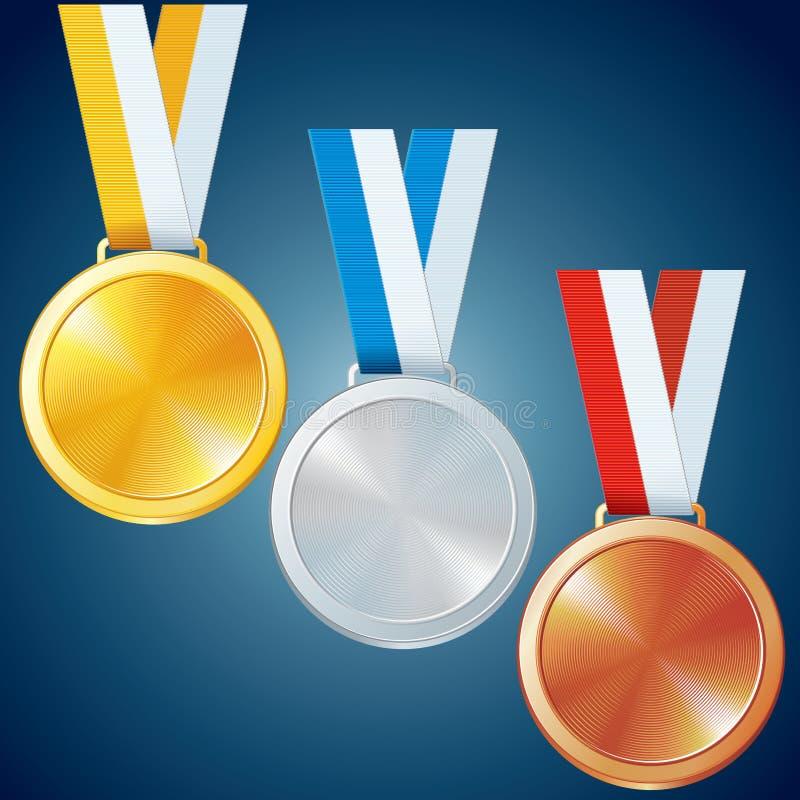 Medalhas douradas, de prata e de bronze. Grupo do vetor ilustração stock