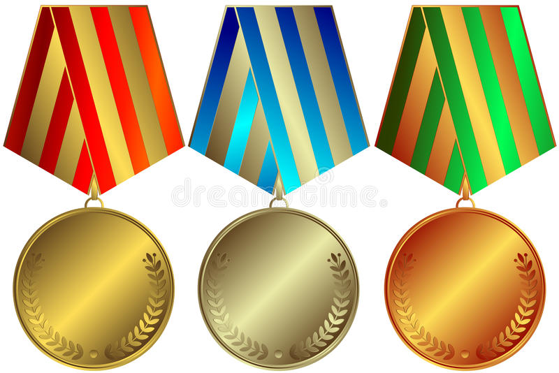 Medalhas douradas, prateadas e de bronze ilustração do vetor
