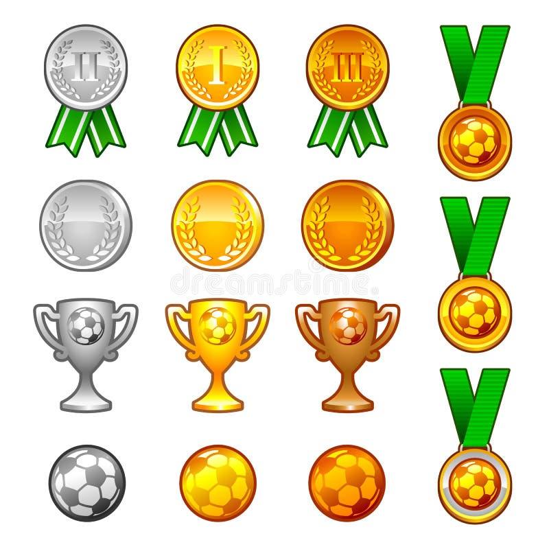 Medalhas e concessões do esporte do futebol ajustadas ilustração do vetor