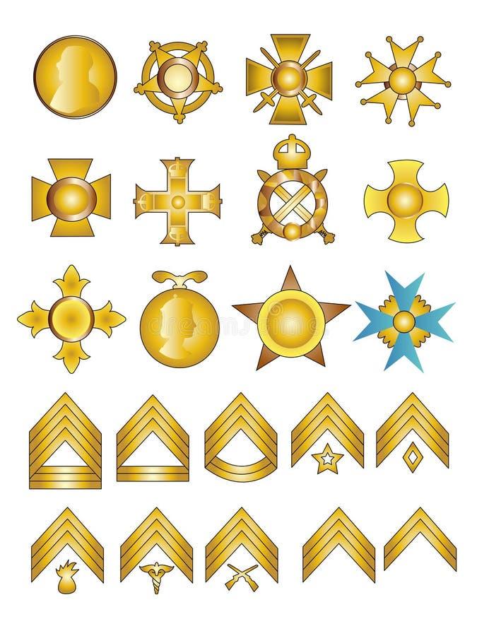 Medalhas e Rank militares ilustração royalty free