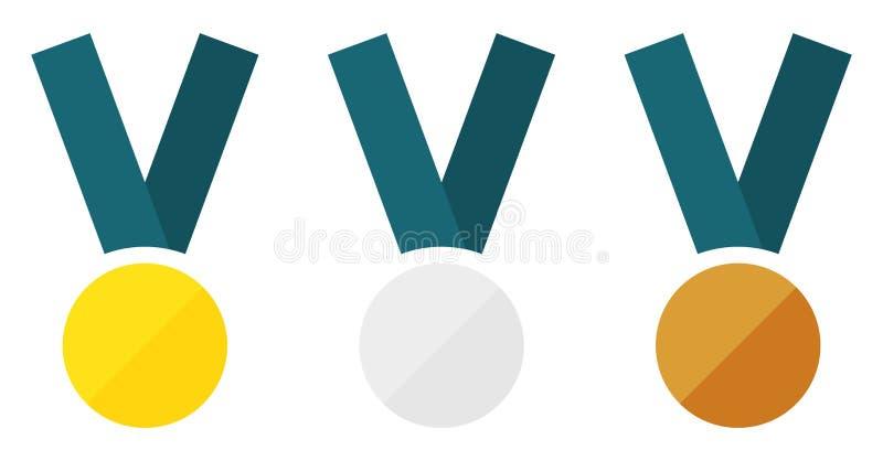 Medalhas lisas ajustadas ilustração royalty free
