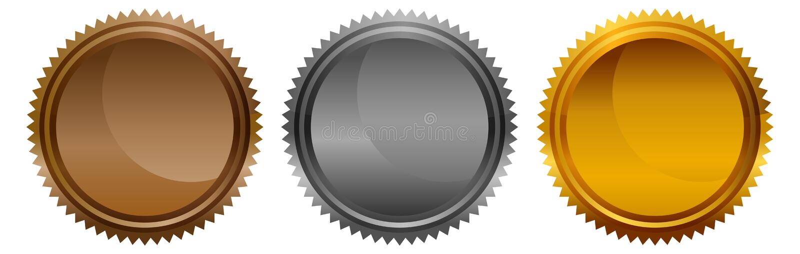 Medalhas redondas da moeda da estrela vazia da prata do ouro do bronze do metal ilustração do vetor