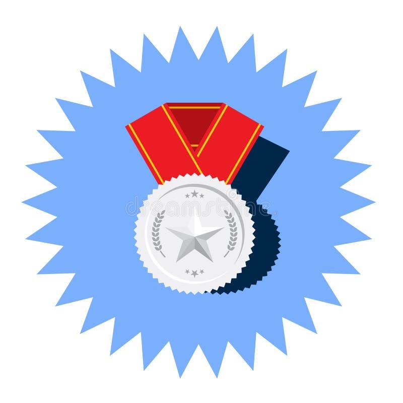 Medalhista de prata com ícone liso do vetor da estrela ilustração do vetor