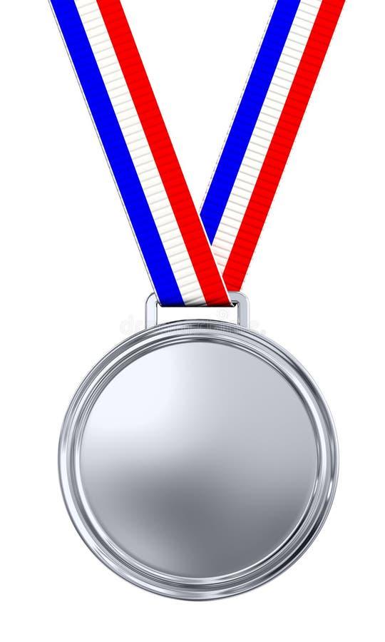 Medalhista de prata em branco ilustração royalty free