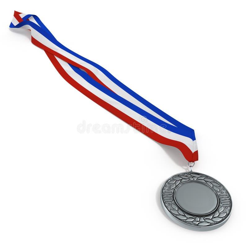 Medalhista de prata isolado no branco ilustração 3D ilustração do vetor