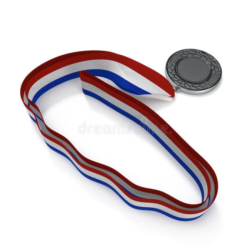 Medalhista de prata na fita branco-azul-vermelha isolada ilustração 3D ilustração do vetor