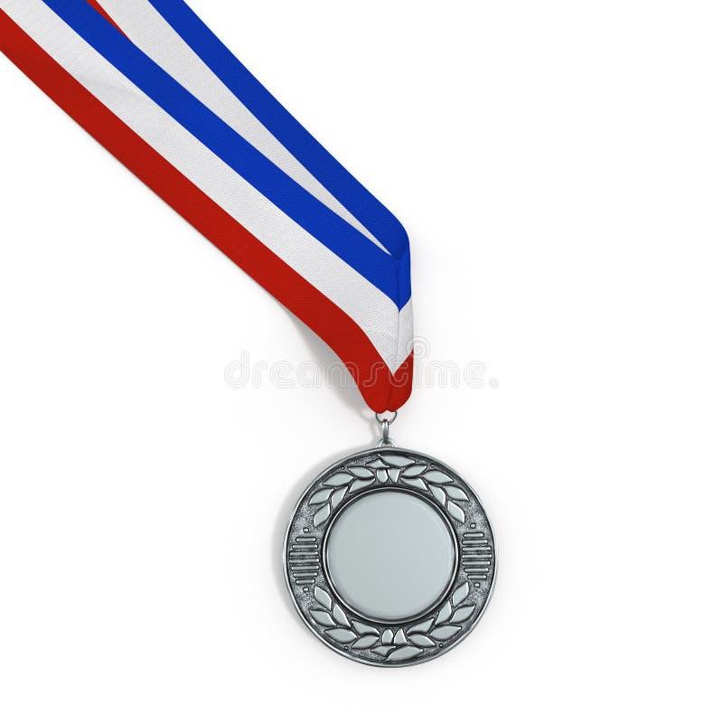Medalhista de prata vazio isolado no branco com espaço da cópia ilustração 3D ilustração royalty free