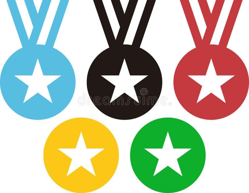 5 medali wywołuje Olimpijskich pierścionki ilustracji