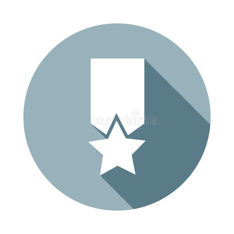 medalicon dans la longue ombre plate Un de l'icône de collection de Web peut être employé pour UI/UX illustration libre de droits