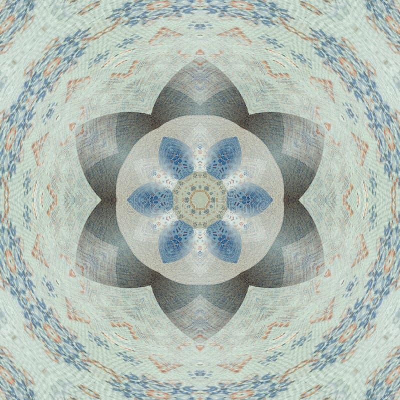 Medalion floreale nell'arabesque blu e bianco, della mandala o delle mattonelle illustrazione vettoriale