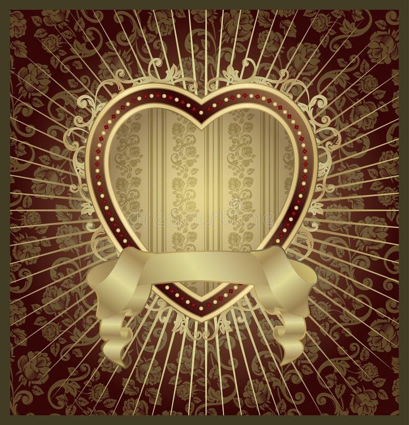 medalionu złocisty kierowy valentine ilustracji