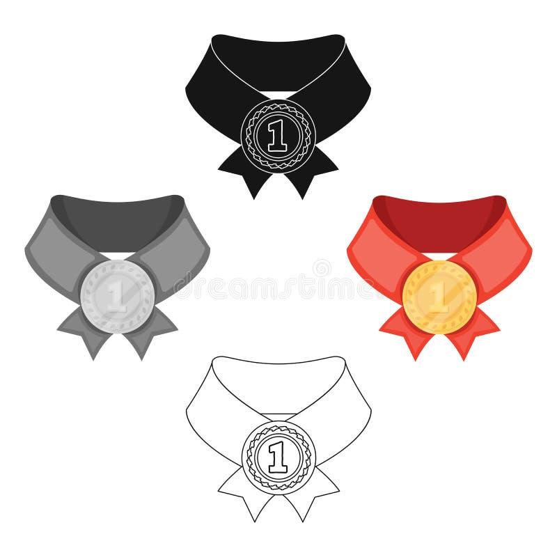?? medalistAwards和战利品唯一象奖牌在动画片,黑样式传染媒介标志股票例证 向量例证