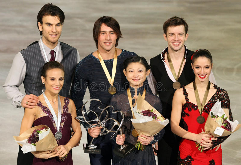Medalists in pair skating stock image