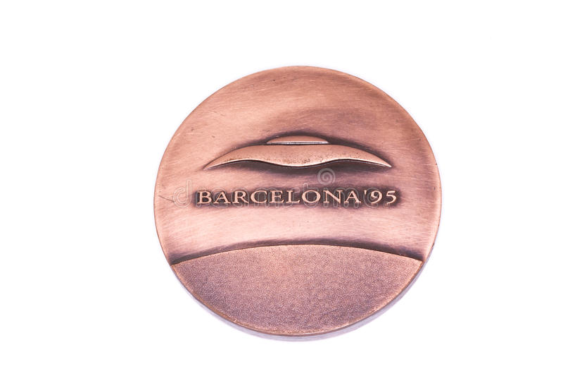 Medalj 1995 för deltagande för mästerskap för Barcelona friidrott som europeisk inomhus är omvänd Kouvola Finland 06 09 2016 arkivfoton