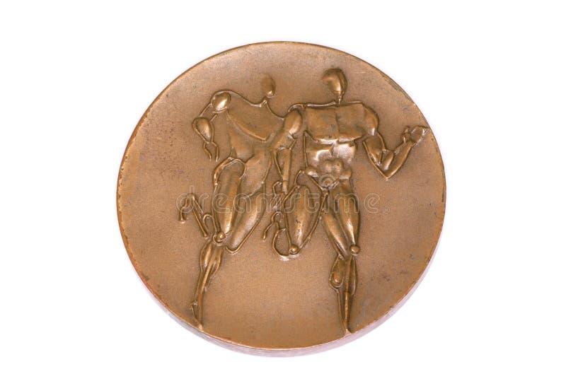 Medalj 1966 för deltagande för mästerskap för Budapest friidrott som europeisk är omvänd Kouvola Finland 06 09 2016 royaltyfri fotografi