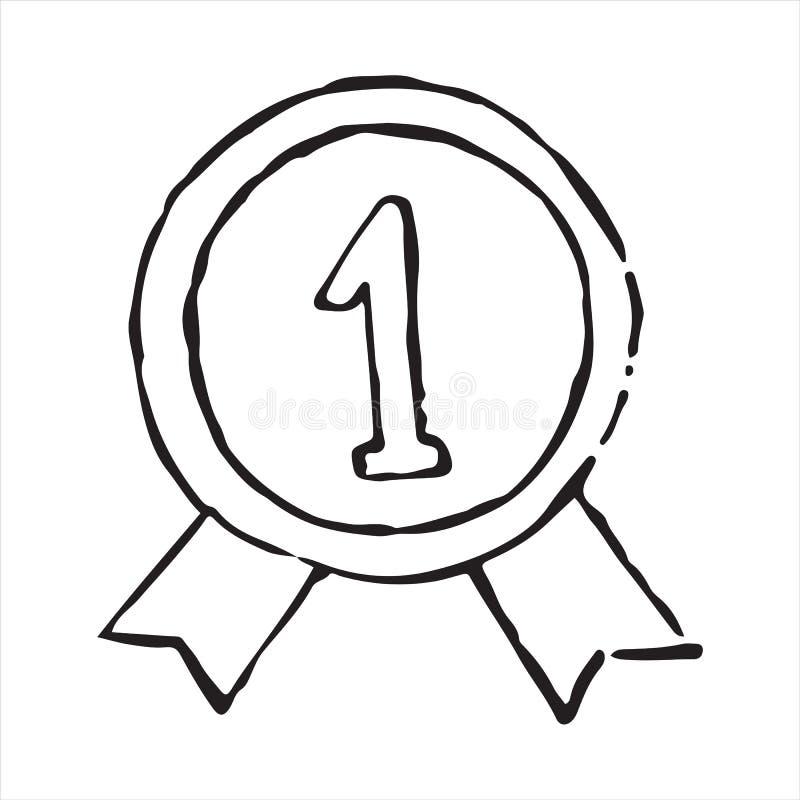 Medalj för segerklottersymbol stock illustrationer