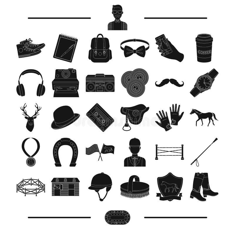 Medalj, massmedia, information och annan rengöringsduksymbol i svart stil omsorg tillbehör, utrustning, symboler i uppsättningsam royaltyfri illustrationer