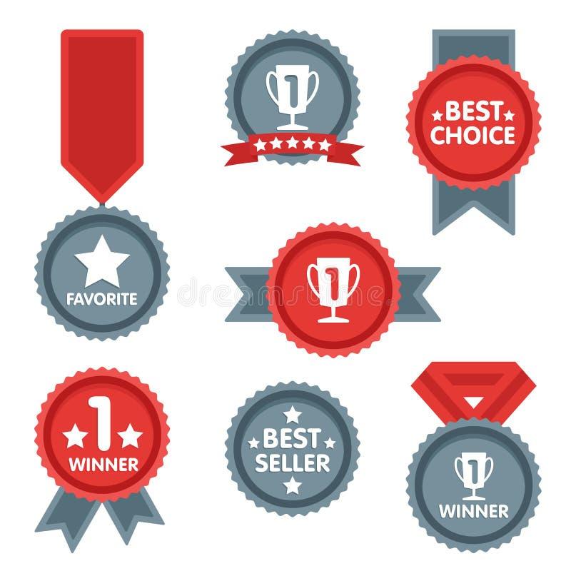 Medalj- och vinnaresymbolsuppsättning stock illustrationer