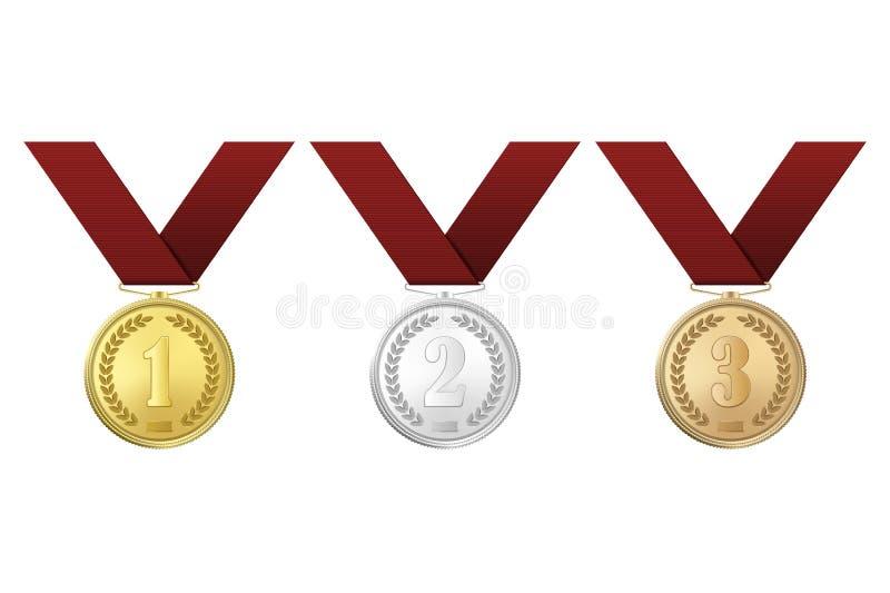 Medaljer för vektorguld-, silver- och bronsutmärkelse med röda band ställde in på vit bakgrund Första, andra, tredje stock illustrationer