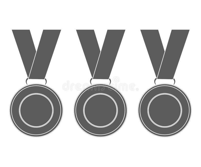 Medaljer för vinnarna av mästarna vektorillustration, fl vektor illustrationer