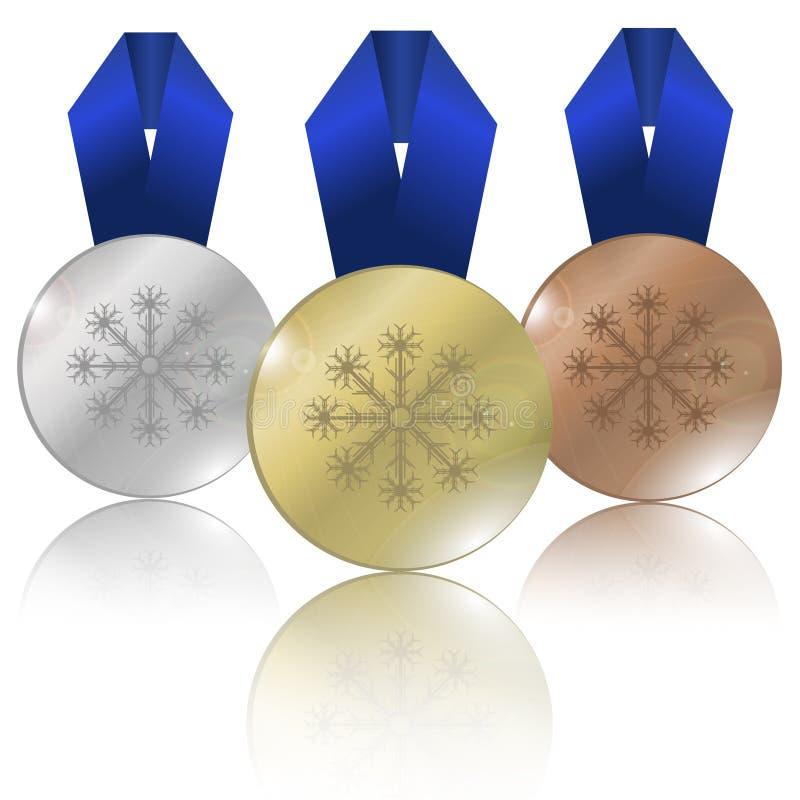Medaljer för vinterlekar royaltyfri illustrationer