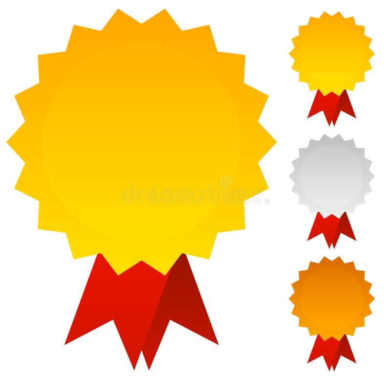 Medaljer förser med märke eller utmärkelser i guld, silver och brons med det röda stödet royaltyfri illustrationer
