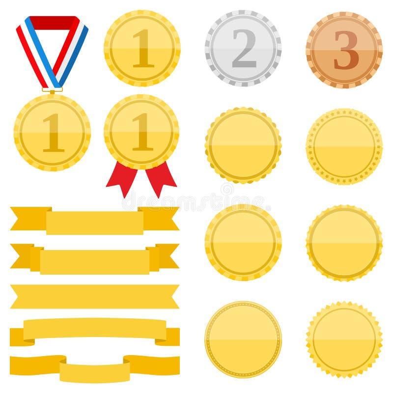 Medaljer och band stock illustrationer