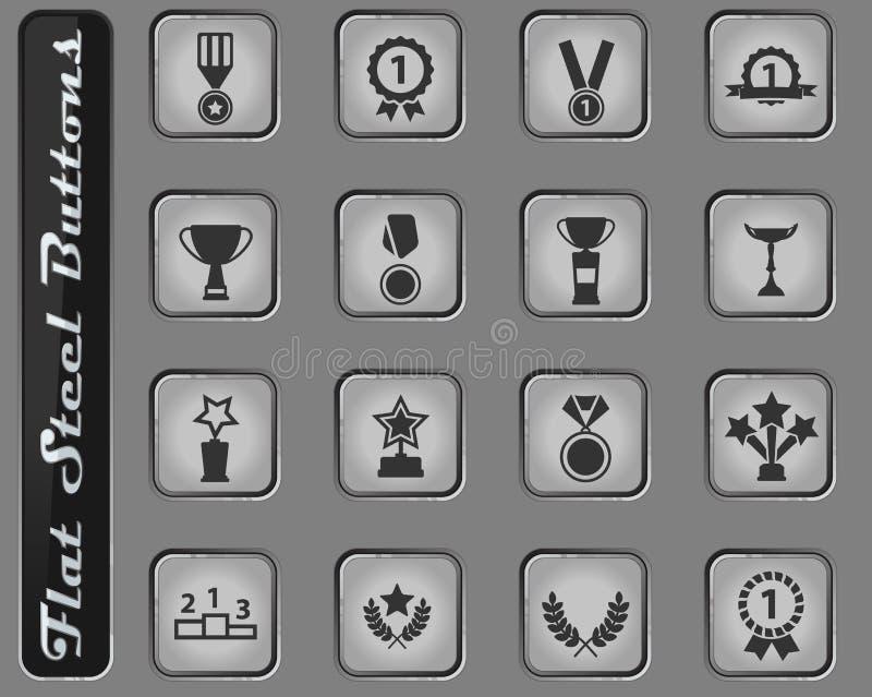 Medaljer och för tropheys symboler enkelt stock illustrationer