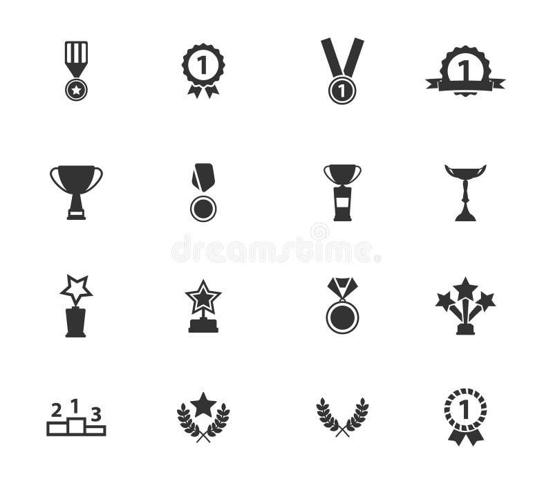 Medaljer och för tropheys symboler enkelt vektor illustrationer