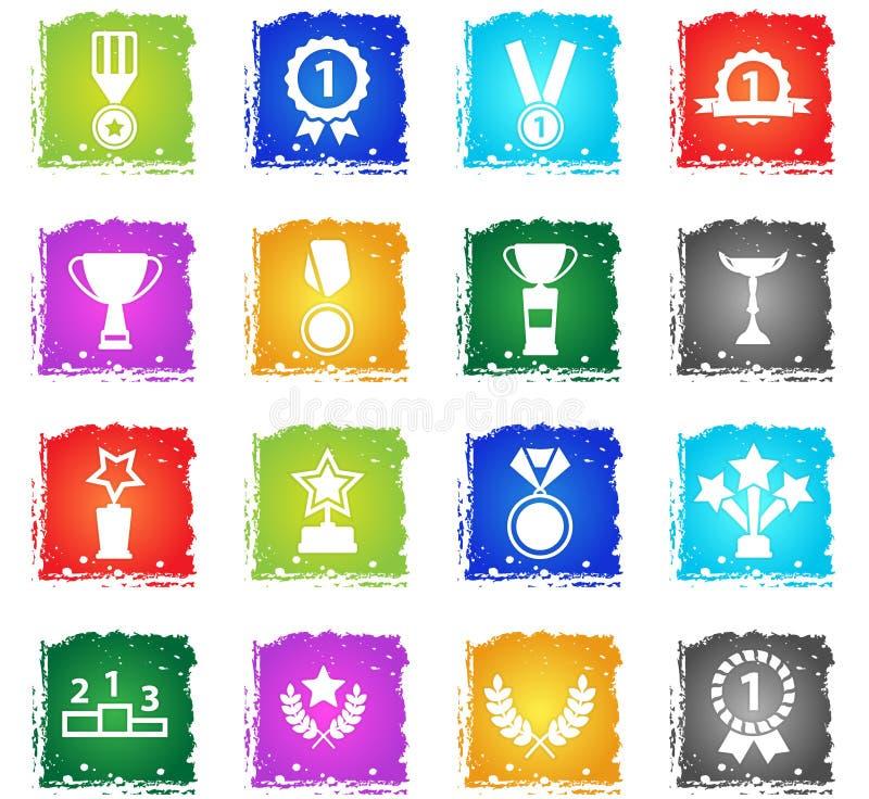 Medaljer och för tropheys symboler enkelt royaltyfri illustrationer