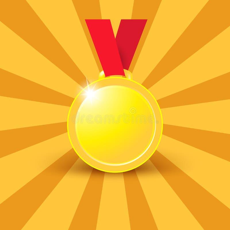 Medaljer som är guld- på ett rött band på vit bakgrund vektor illustrationer