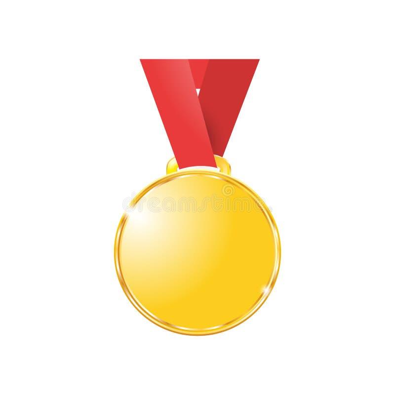 Medaljer som är guld- på ett rött band som isoleras på vit bakgrund stock illustrationer