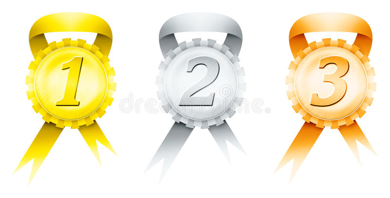 medaljer tre stock illustrationer